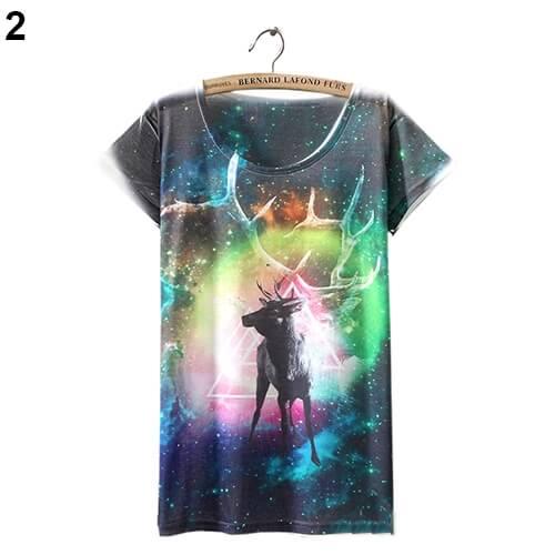 На картинке футболка «Космос» женская (5 вариантов), вид спереди, вариант 2.