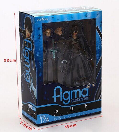 На картинке фигурка Кирито (подвижная) — Sword Art Online, вид в упаковке.