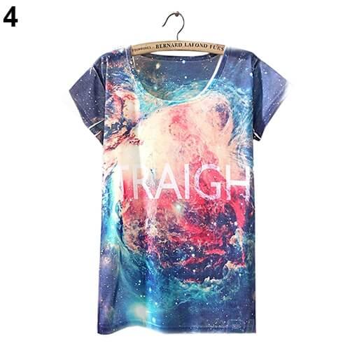 На картинке футболка «Космос» женская (5 вариантов), вид спереди, вариант 4.