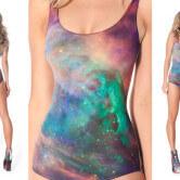 На картинке купальник космос (3 варианта), вид спереди и сзади, вариант разноцветный.