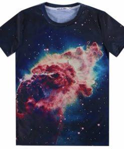 На картинке футболка с принтом космос (космическим принтом) 5 вариантов, вид спереди, вариант 3.