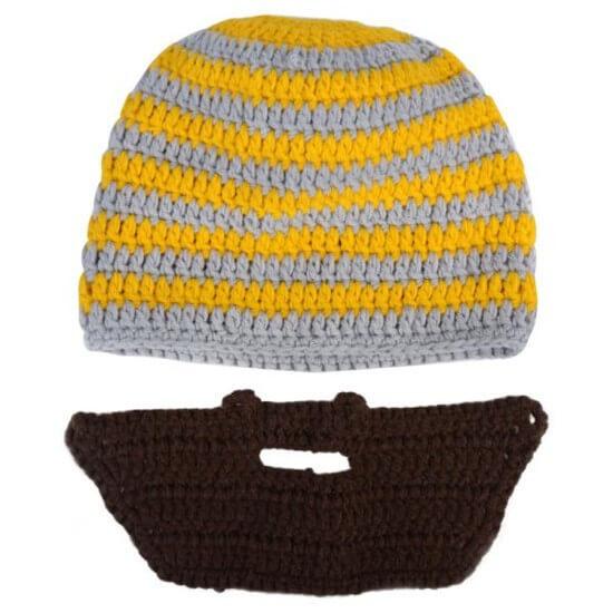 На картинке шапки с усами и бородой (4 варианта), цвет желтый.
