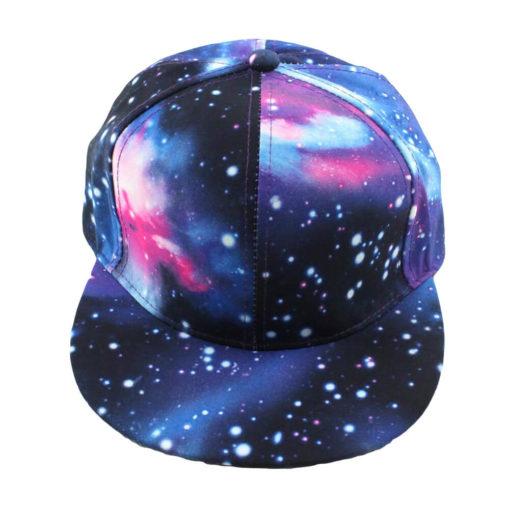 На картинке кепка с прямым козырьком «Космос», вид спереди, вариант синий.
