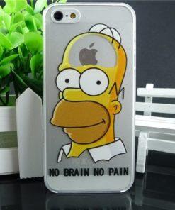 На картинке чехол Гомер Симпсон на айфон 4-4S-5-5S-6, вид спереди, вариант 7.