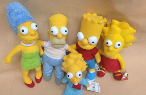 На картинке мягкие игрушки «Симпсоны» (Simpsons), все варианты.