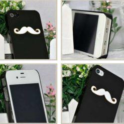 На картинке чехол с усами на айфон 4-4S-5-5S (2 варианта), вид с разных сторон, цвет черный.