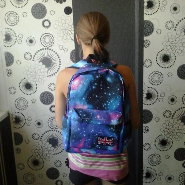На картинке рюкзак с космическим принтом (принтом космос) 4 варианта, вид спереди, вариант голубой.