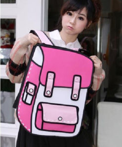 На картинке рюкзак 2d (2 д), вид спереди, цвет розовый.