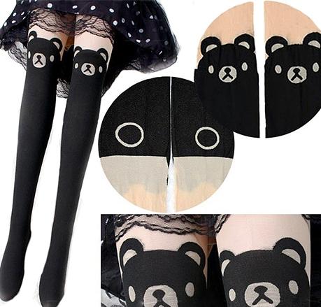 На картинке колготки с имитацией чулок «Панда», вид спереди.