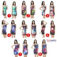 На картинке платье с космическим принтом (8 вариантов), вид спереди и сбоку. все варианты.