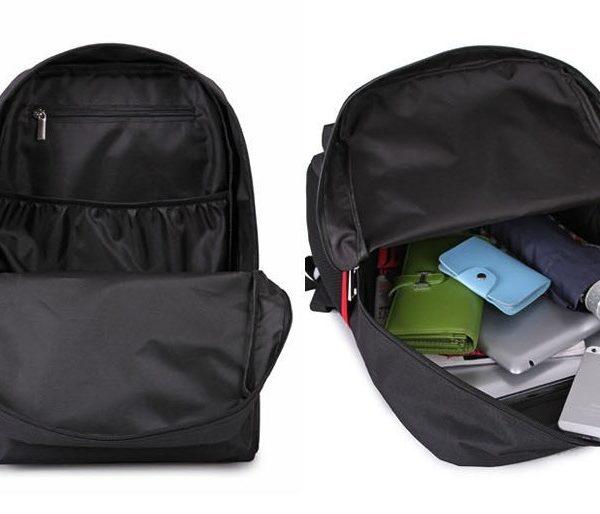 На картинке рюкзак «Токийский гуль» в виде маски Канеки, в раскрытом виде.