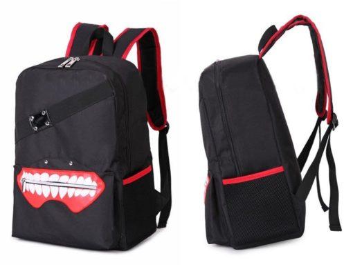 На картинке рюкзак «Токийский гуль» в виде маски Канеки, вид спереди и сбоку.
