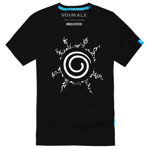 На картинке футболка Наруто (Naruto), вид спереди, цвет черный.