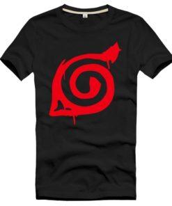 На картинке футболка Наруто со знаком Конохи, вид спереди, цвет черный.