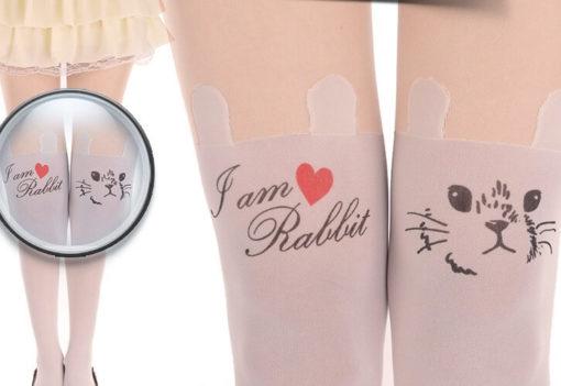На картинке модные колготки с имитацией чулков «Кролик», детали, цвет белый.