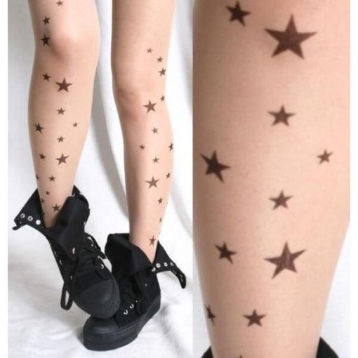 На картинке колготки с рисунком тату «Звезды», вид спереди.