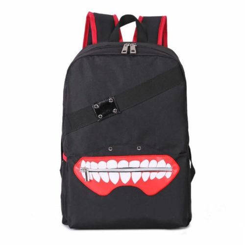 На картинке рюкзак «Токийский гуль» в виде маски Канеки, вид спереди.
