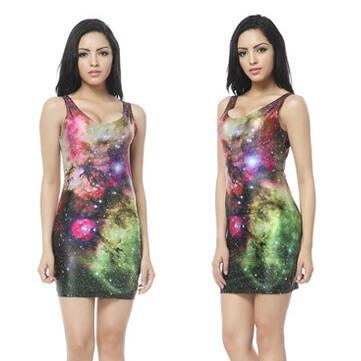 На картинке платье с космическим принтом (8 вариантов), вид спереди. вариант 2.