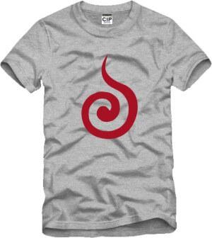 На картинке футболка Наруто Узумаки, вид спереди, цвет серый.