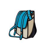 На картинке сумки 2д, вид сбоку, цвет голубой.