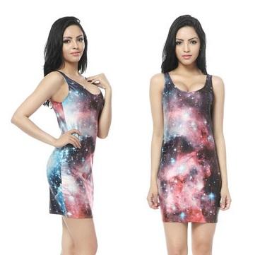 На картинке платье с космическим принтом (8 вариантов), вид спереди и сбоку. вариант 3.