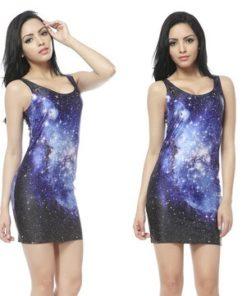 На картинке платье с космическим принтом (8 вариантов), вид спереди. вариант 4.