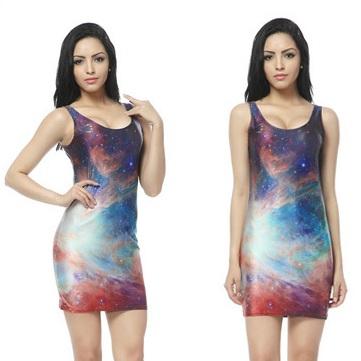 На картинке платье с космическим принтом (8 вариантов), вид спереди. вариант 5.