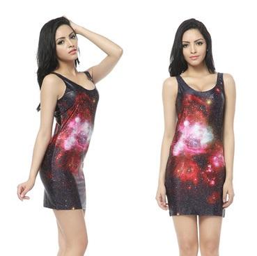 На картинке платье с космическим принтом (8 вариантов), вид спереди и сбоку. вариант 6.