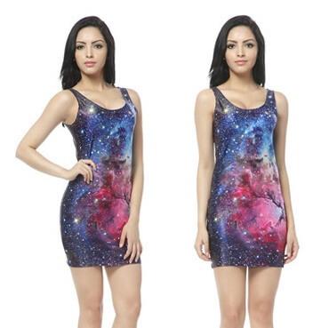 На картинке платье с космическим принтом (8 вариантов), вид спереди. вариант 8.