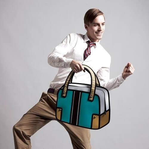 На картинке сумка 2d (мужская), вид спереди, цвет зеленый.