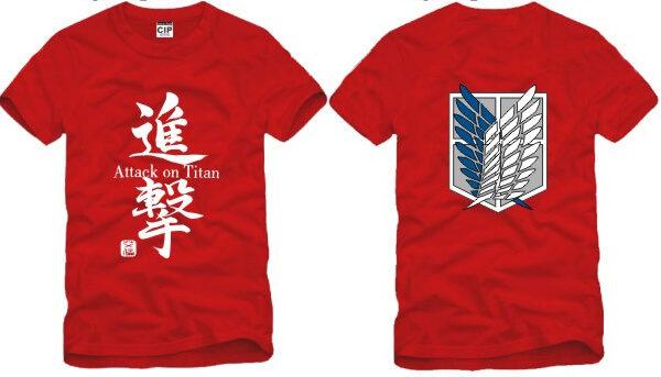 На картинке футболка «Атака титанов», вид спереди и сзади, цвет красный.