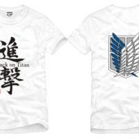 На картинке футболка «Атака титанов», вид спереди и сзади, цвет белый.