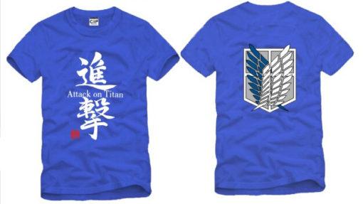 На картинке футболка «Атака титанов», вид спереди и сзади, цвет синий.