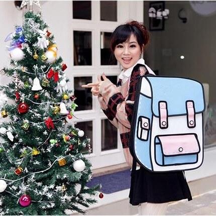 На картинке рюкзак 2d (2 д), вид спереди, цвет светло-голубой.