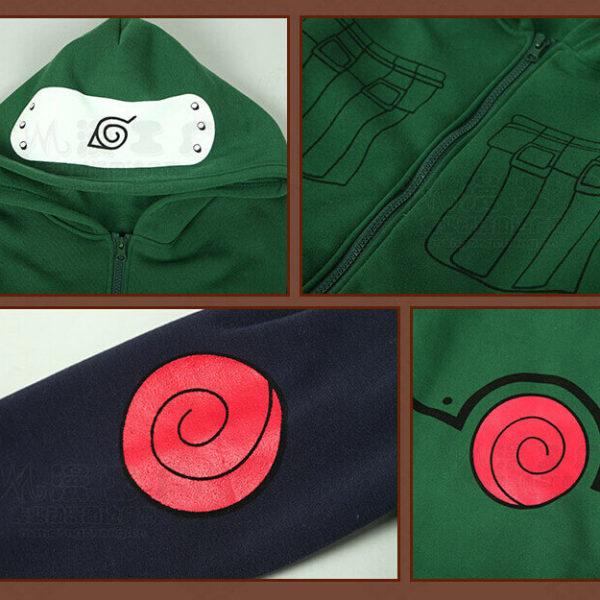 На картинке толстовка из Наруто в виде костюма Какаши, детали.