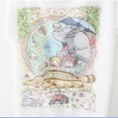 На картинке футболка Тоторо, Котобус и другие, вид спереди, крупный план.