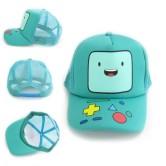 На картинке кепка «Время приключений» (3 варианта), вид с разных сторон, цвет бирюзовый.