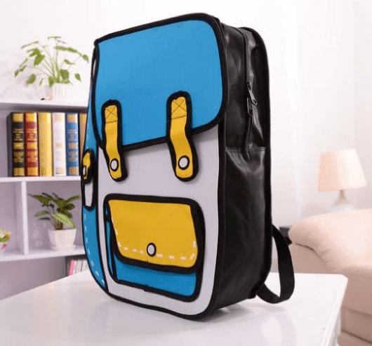 На картинке рюкзак 2d (2 д), общий вид, цвет голубой.