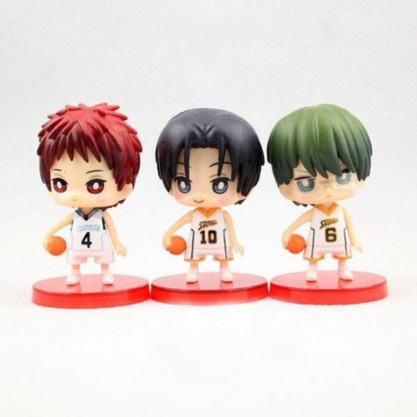 На картинке фигурки Баскетбол Куроко (набор 9 шт), фигурки Акаши, Такао и Мидоримы, вид спереди.