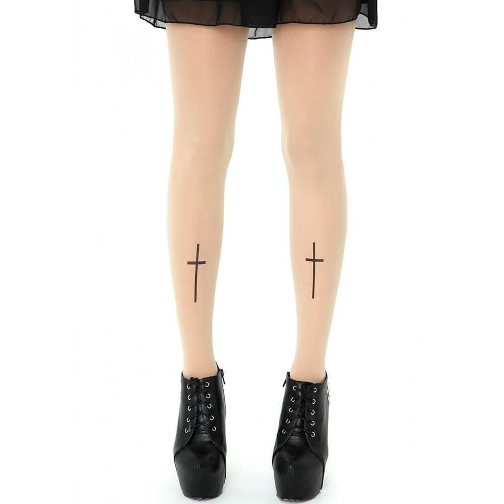 На картинке колготки с рисунком тату «Крест», вид спереди.