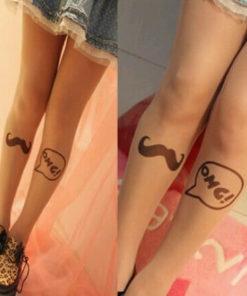 На картинке колготки с имитацией тату «Усы», общий вид.