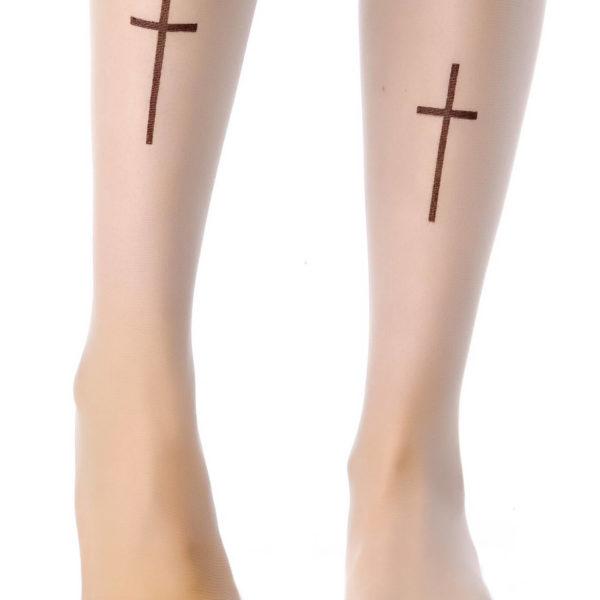 На картинке колготки с рисунком тату «Крест», детали.