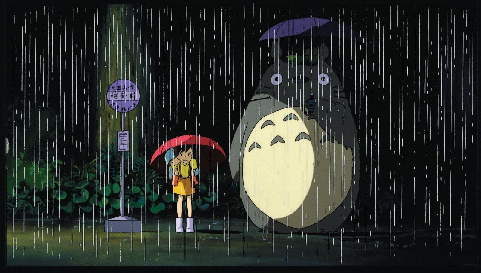 На картинке зонт (зонтик) «Тоторо» (Totoro) 6 вариантов, кадр из аниме.