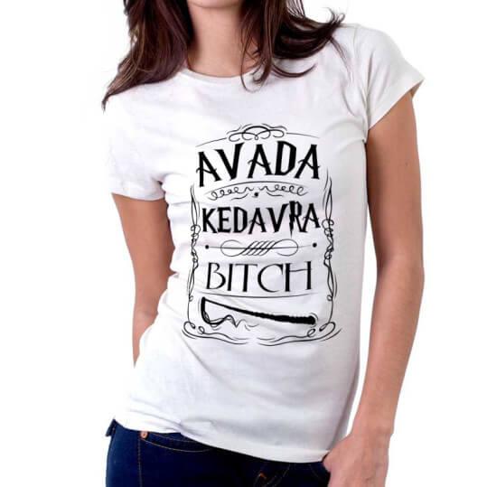 На картинке футболка женская Гарри Поттер (Авада Кедавра), вид спереди, цвет белый.