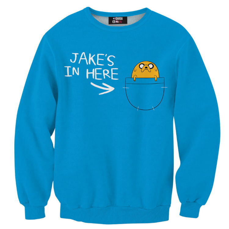 На картинке свитшот-кофта «Джейк в кармане» Время приключений (Adventure time), вид спереди.
