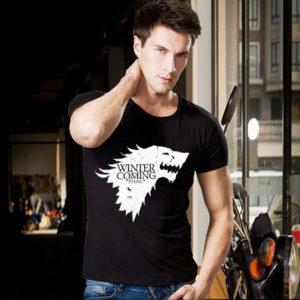 На картинке футболка «Герб Старков» (Игра престолов), вид спереди.