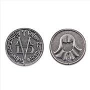 На картинке монета Безликого «Игра престолов», 2 стороны.