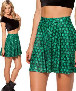 На картинке юбка «Игра престолов» в виде драконьей чешуи, вид спереди, цвет зеленый.
