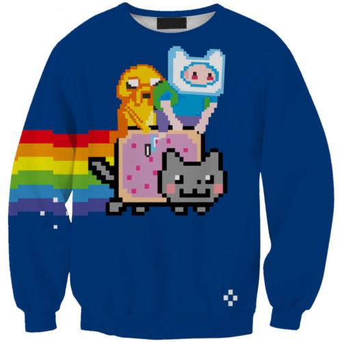 На картинке свитшот-кофта «Время приключений и Nyan cat» (Adventure time), вид спереди.