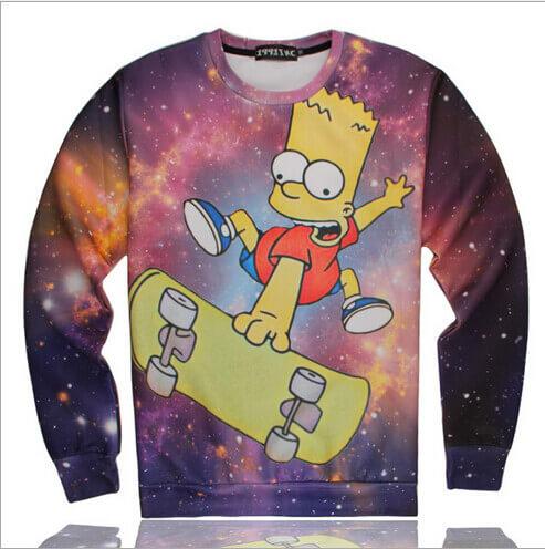 На картинке свитшот с Бартом Симпсоном (Simpsons) Космос, вид спереди.